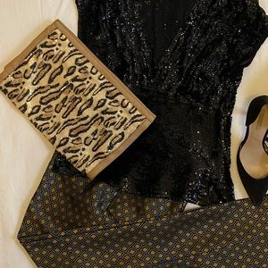 Leopard sequin French Connection clutch